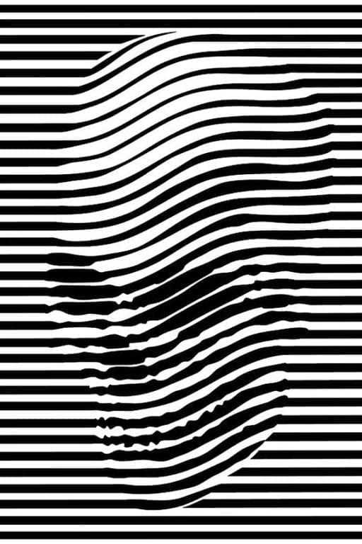 op art optical illusion black white skull